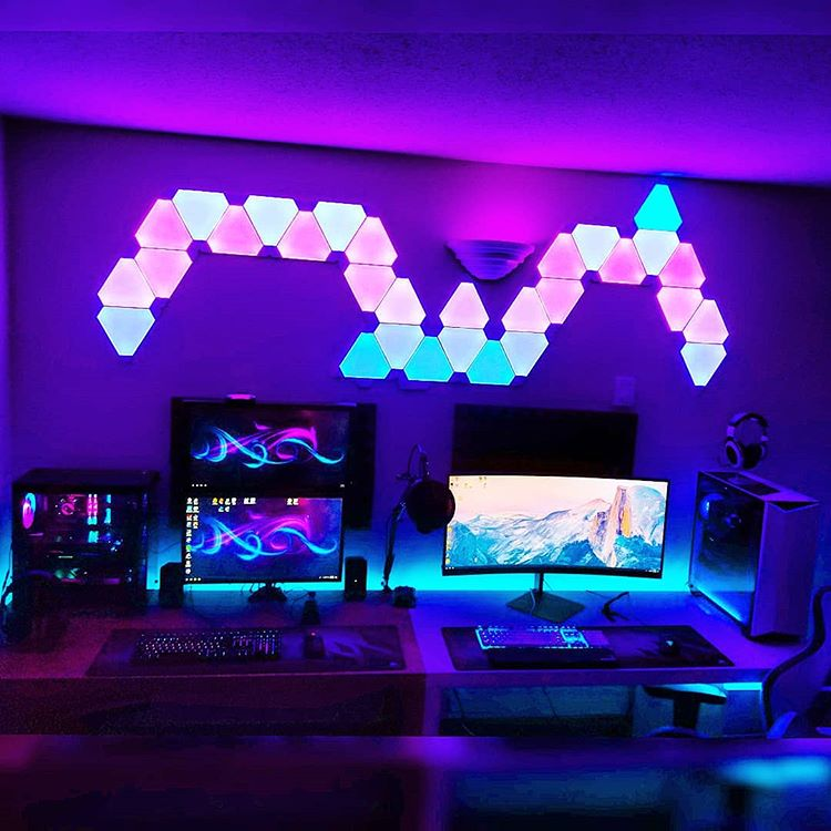 habitacion gamer color morado