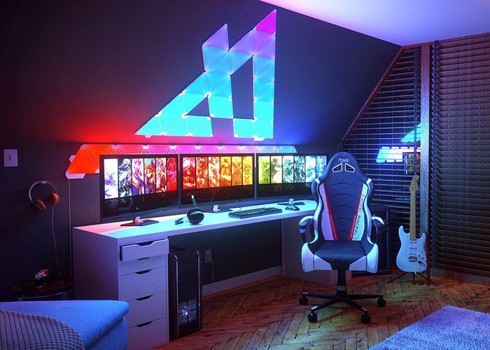 habitacion gamer y streamer con iluminacion nanoleaf aurora